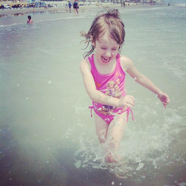 E on the beach