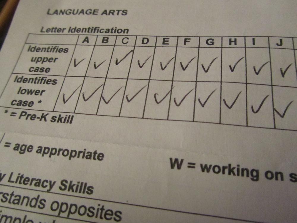 E's report card: letters