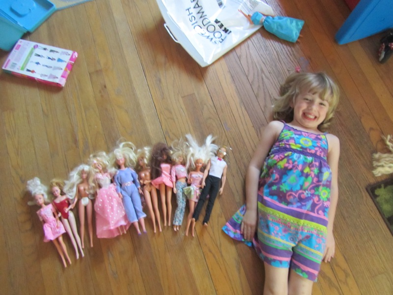 E and her Barbies