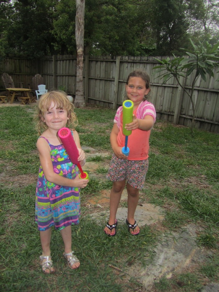 E and M, water guns