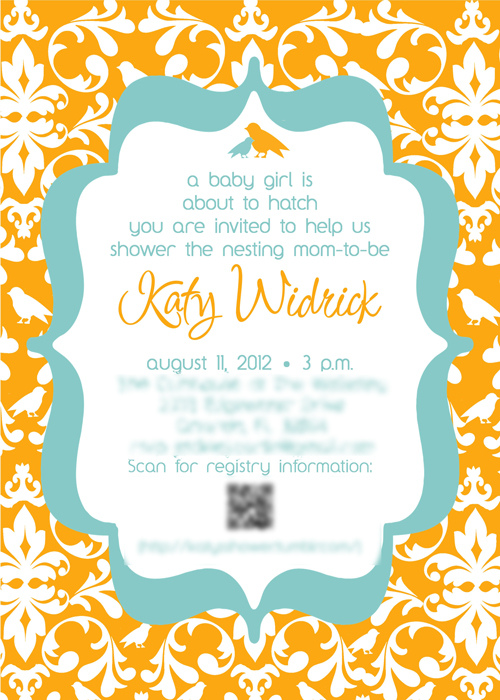 Katy's shower invitation