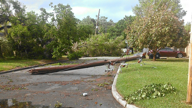Storm-power pole down