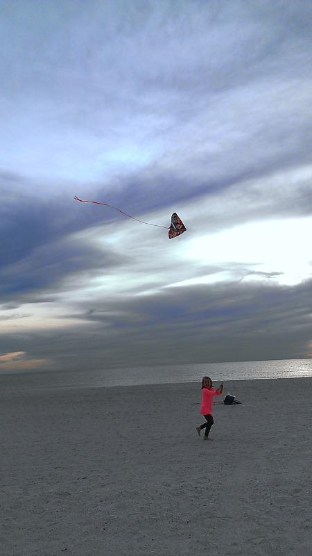 E flies a kite
