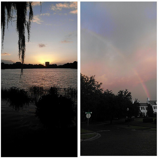 Sunrise and rainbow