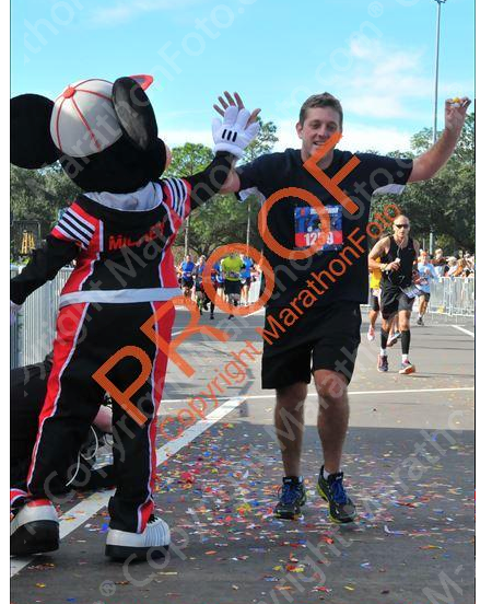 Mickey at the Marathon finish line